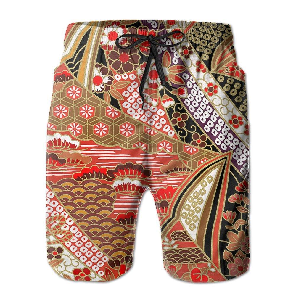 Sunshine Retro Style Mens Beach Shorts Elastic Waist Pockets Lightweight Swimming Board Short Quick Dry Short Trunks