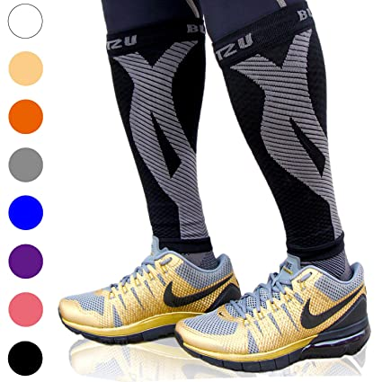 1187d97581 Calf Compression Sleeve One Pair Blitzu Leg Performance Compression Socks  for Shin Splint & Calf Pain Relief. Men Women Runners Guards Sleeves for  Running.