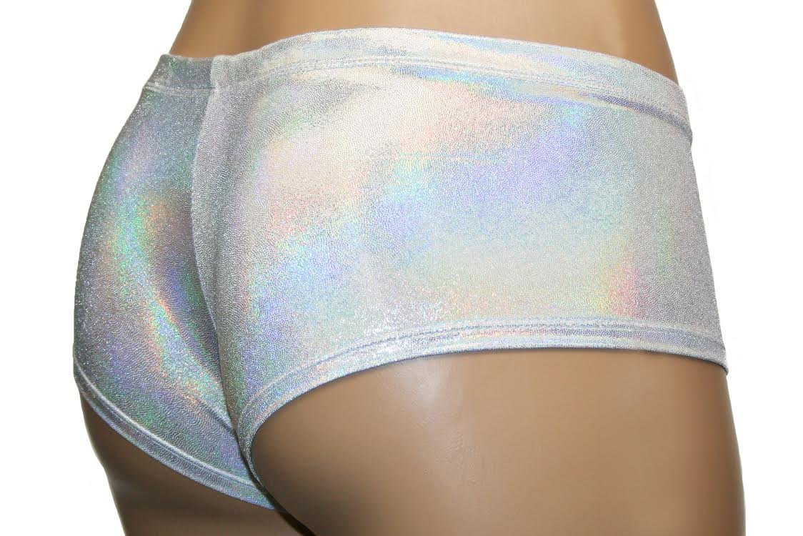 White and Silver Pearl Low Rise Cheeky Booty Shorts Rave Pole Dancer Clothing (Adult X-Small) by Dilly Duds (Image #5)