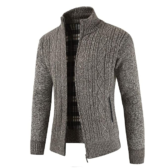 9b28355dbc3f1 Mens Full Zip Up Sweaters Lightweight Casual Slim Fit Stand Collar Cardigan  with Pockets Allywit
