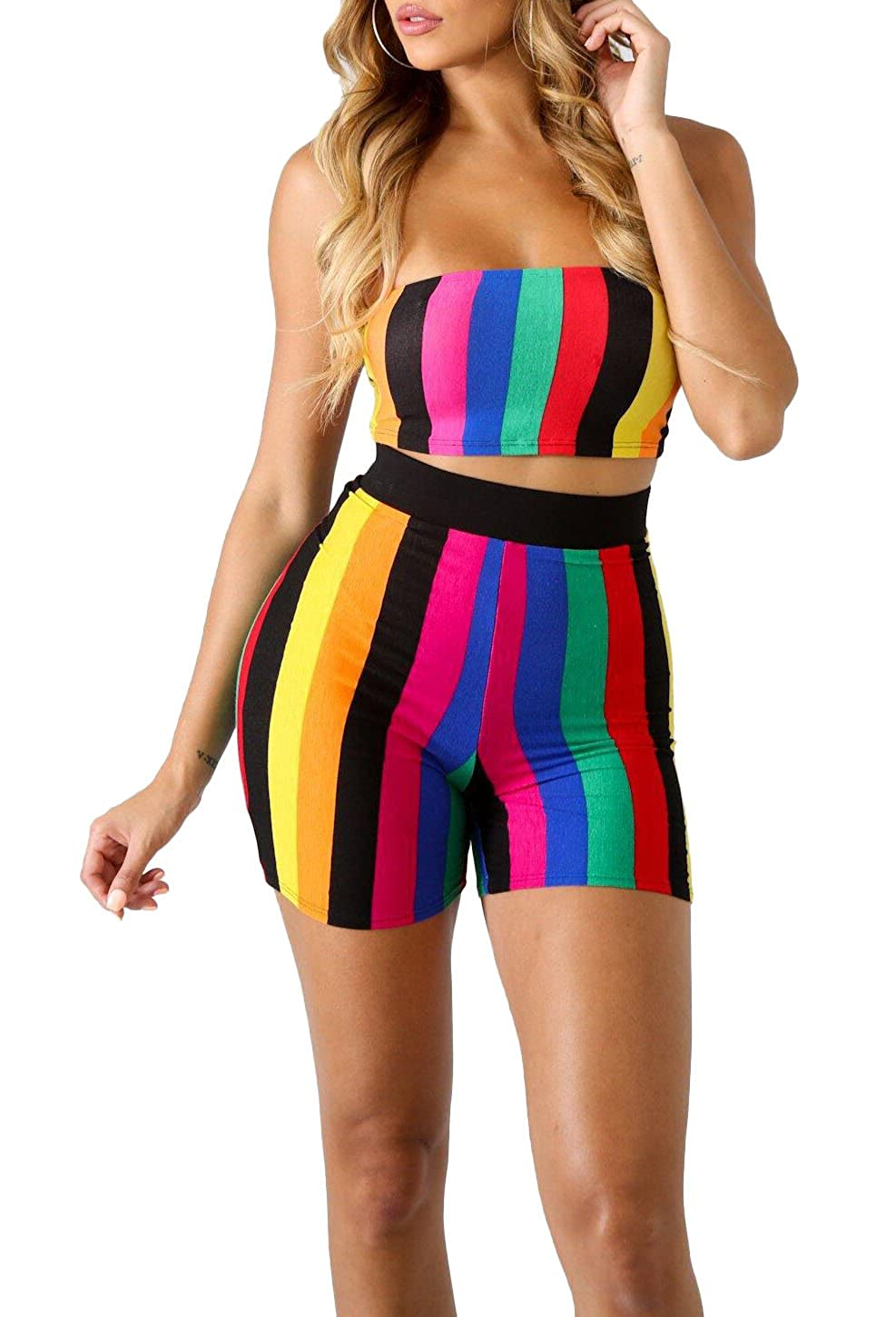 429428aaef Adogirl Womens Sexy 2 Piece Outfits Bodycon Stripe Print Sleeveless Tube Top  and Hot Shorts Set Romper at Amazon Women s Clothing store