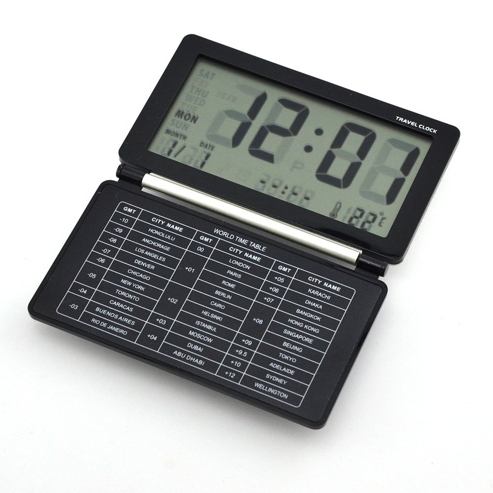 Digital Travel Alarm Clock World Time with Snooze Calendar Thermomete Display (Black+Silver) E-Age