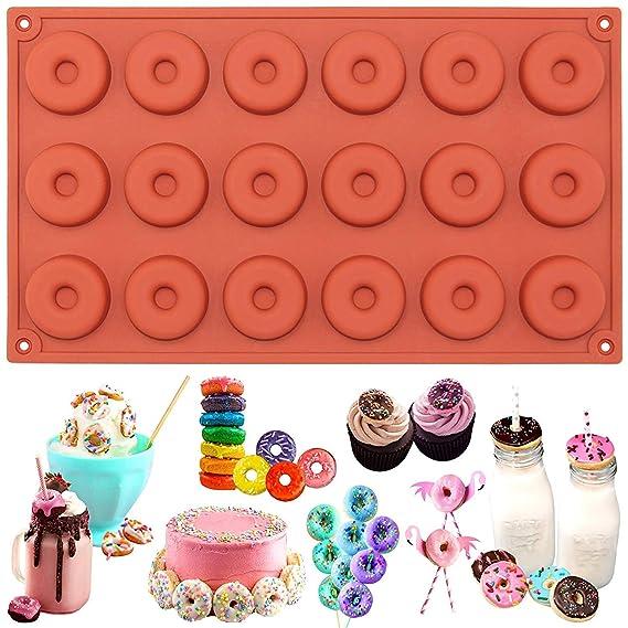 Molde de silicona con 18 cavidades para donas y chocolates, 29 x ...