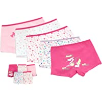 Cotton Boxer Briefs Underwear 5 of Pack Set for Girls Kids Size 2-16 Years