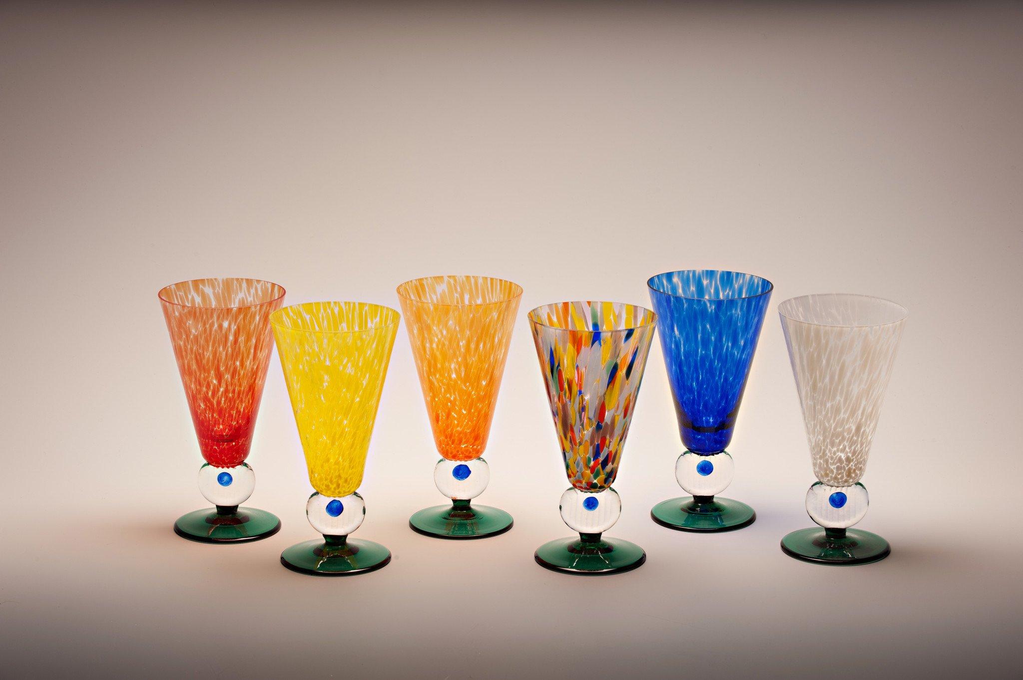 Kusak Cut Glass Works Rainbow Jubilee Iced Tea Glasses