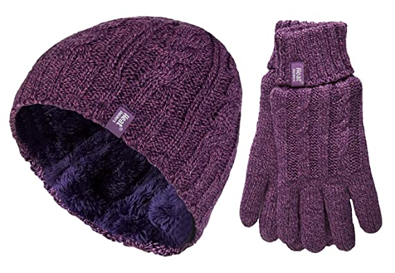 0aa44aeaf7be HEAT HOLDERS - Ensemble bonnet, écharpe et gants - Femme - violet - Small