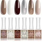 Modelones Gel Nail Polish Set - Art Deco Gold Silver White Burgundy Color Collection 6 PCS 10 ML Soak Off UV LED Required Base and Top Coat Gel Polish Kit With Gift Box