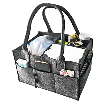 VANCORE Felt Nursery Storage Bag Diaper Caddy Baby Diaper Organiser Bag Toy Storage Bin Great Mommy Helper