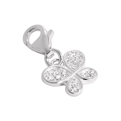 Sterling Silver & CZ Crystal Encrusted Oak Tree Clip on Charm KGQXF0Dc