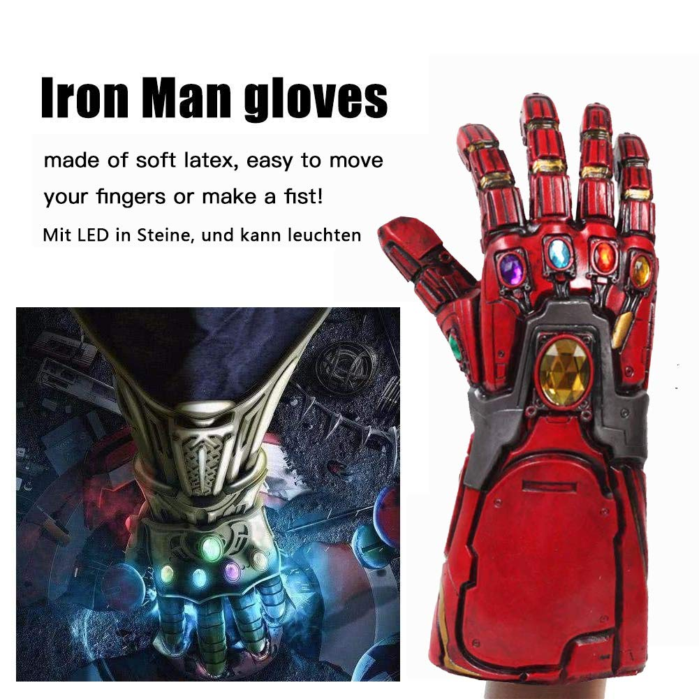 Pandacos Iron Man Infinity Thanos Guanti in Lattie con LED Glowing Cosplay Glove per Unisex Adulto Taglia Unica
