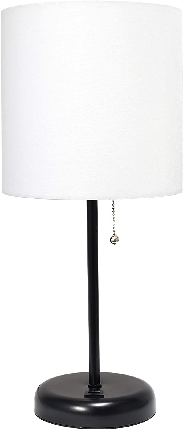 Limelights LT2044-BAW Stick USB Charging Port and Fabric Shade Table Lamp, Black/White