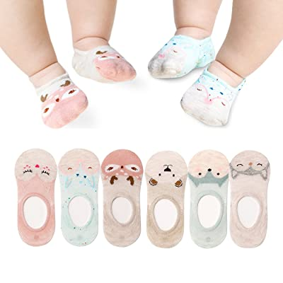 6 Pairs Baby No Show Socks Cute Animal Toddler Low Cut Cotton Socks for Child 0-3Y