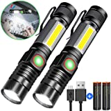 Rechargeable Flashlight, Magnetic Flashlight(included Battery), Super Bright Pocket-Sized COB Work Light T6 LED Torch with Clip, Zoomable, Water Resistant, 4 Modes for Camping Hiking 2 Pack