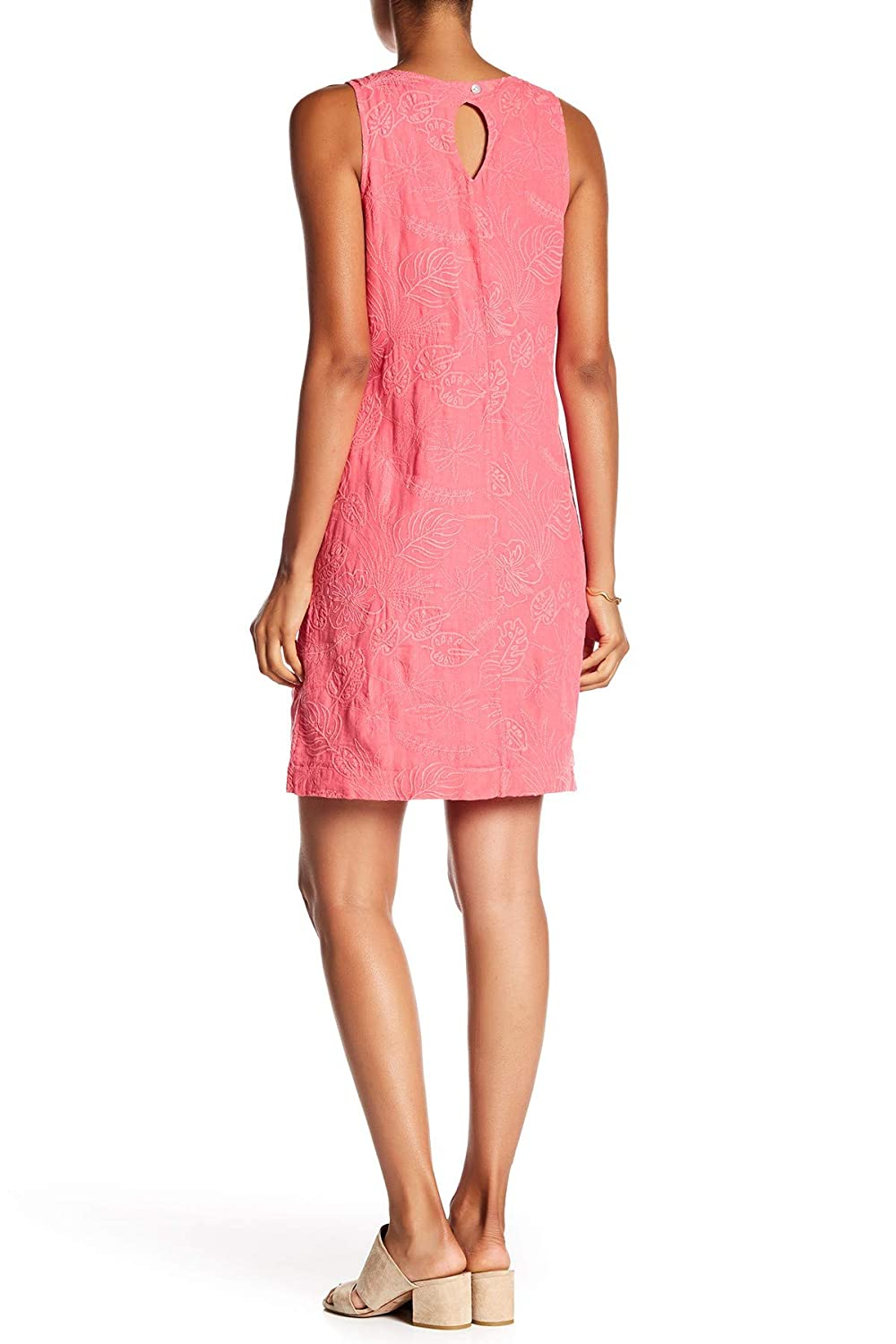 fbd424ce24f Tommy Bahama Women s Monstera Mash Embroidered Linen Shift Dress (Classic  Pink