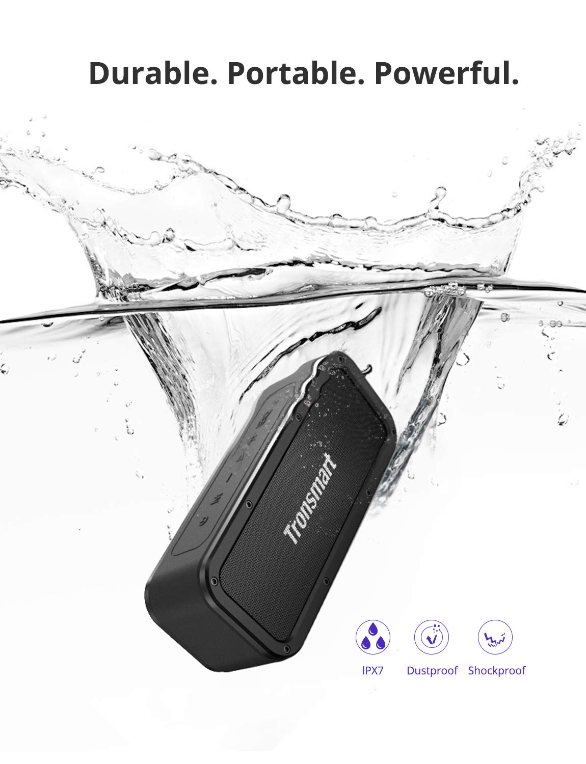 Portable Bluetooth Speakers, Tronsmart Force SoundPulse 40W IPX7 Waterproof Bluetooth 4.2 Wireless Speakers with 15-Hour Playtime, TWS, Dual-Driver with Built-in Mic, NFC, Deep Bass (Force) by Tronsmart (Image #2)
