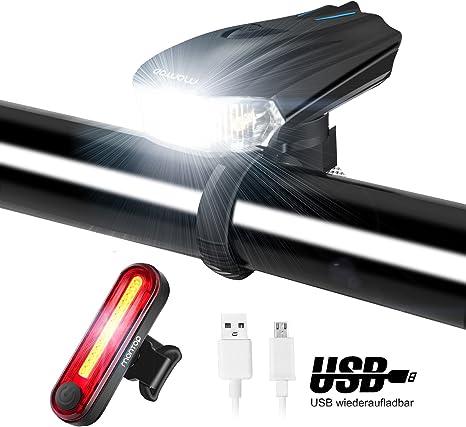 MONTOP Luces Bicicleta Delantera y Trasera, LED Luz Bicicleta, USB ...