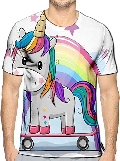 T-Shirt 3D Printed Cute with Unicorns and Rainbows Casual Tees