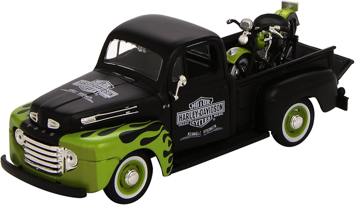 Maisto 1:24 Scale 1948 Ford F-1 Pickup and Harley Davidson 1948 FL Panhead Diecast Vehicles (Styles & Colors Vary)