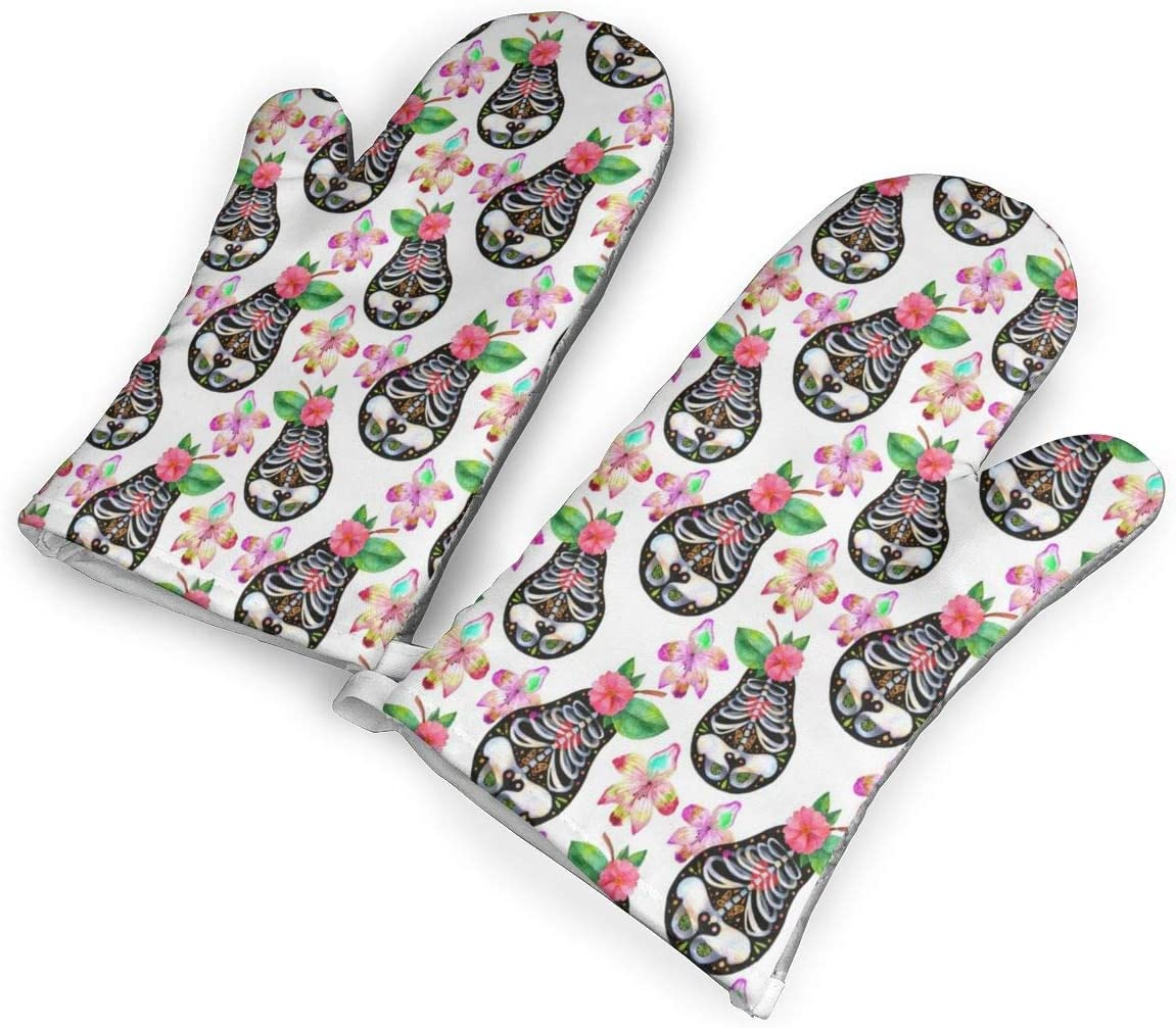 Victoria-Ai Muertos Style Pear Flowers Pattern Oven Mitts Premium Heat Resistant Kitchen Gloves Non-Slip Easy to Use Baking Mittens for BBQ/Cooking/Grilling