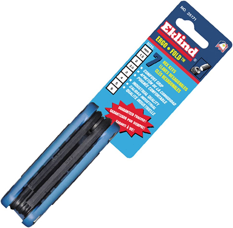 EKLIND 25171 Ergo-Fold Fold-up Hex Key allen wrench 7pc set Metric MM sizes 1.5-6