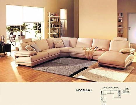Amazon.com: My Aashis - Sofá seccional de 6 plazas de piel ...