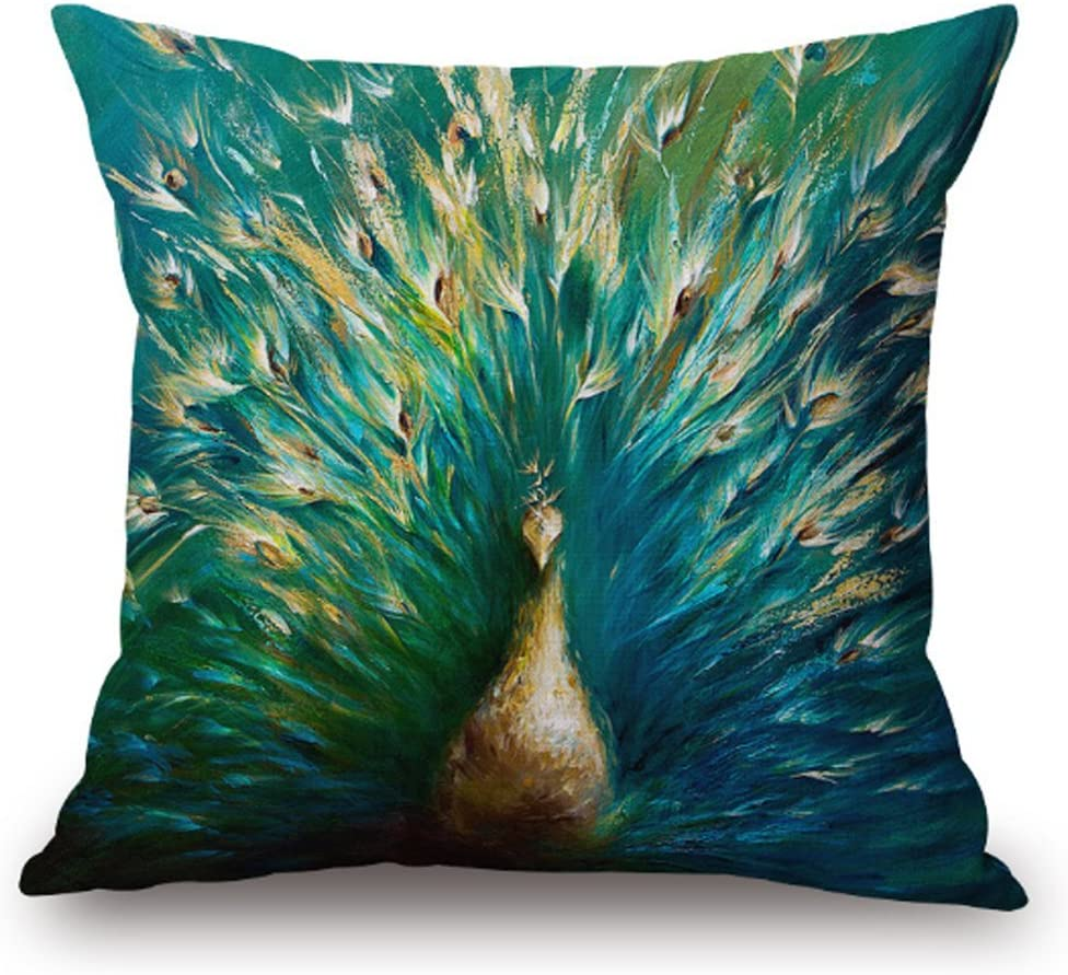 "SLS Cotton Linen Decorative Throw Pillow Case Cushion Cover Lion Piillow case 18""X18 Color Peacock (7)"