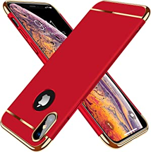 TORRAS Lock Series iPhone X Case/iPhone Xs Case 3-in-1 Luxury [3rd Generation] Anti-Scratch Hard Cover with Electroplated Frame Case Designed for iPhone Xs/X, Red