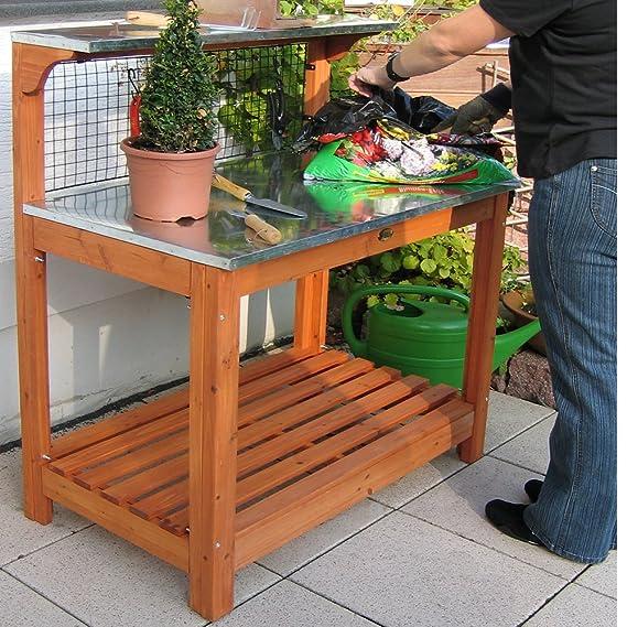 HABAU 695-FSC - Mesa con encimera de zinc para jardines: Amazon.es: Jardín