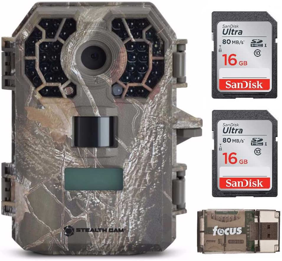 Stealth Cam G42NG Trail Camera Bundle with Two Memory Cards and Focus Card Reader. No-Glow Flash, Shoots HD Video