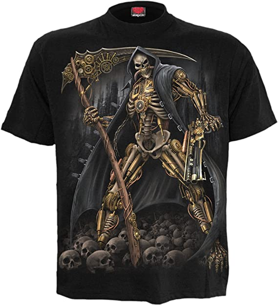 Spiral Steampunk Skeleton T Shirt schwarz