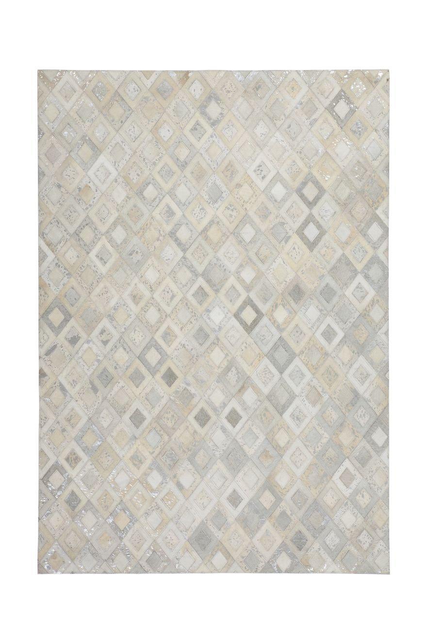 Teppich Wohnzimmer Carpet Geometrie Design Spark 110 Rug Rauten Muster Leder 160x230 cm Grau Teppiche günstig online kaufen