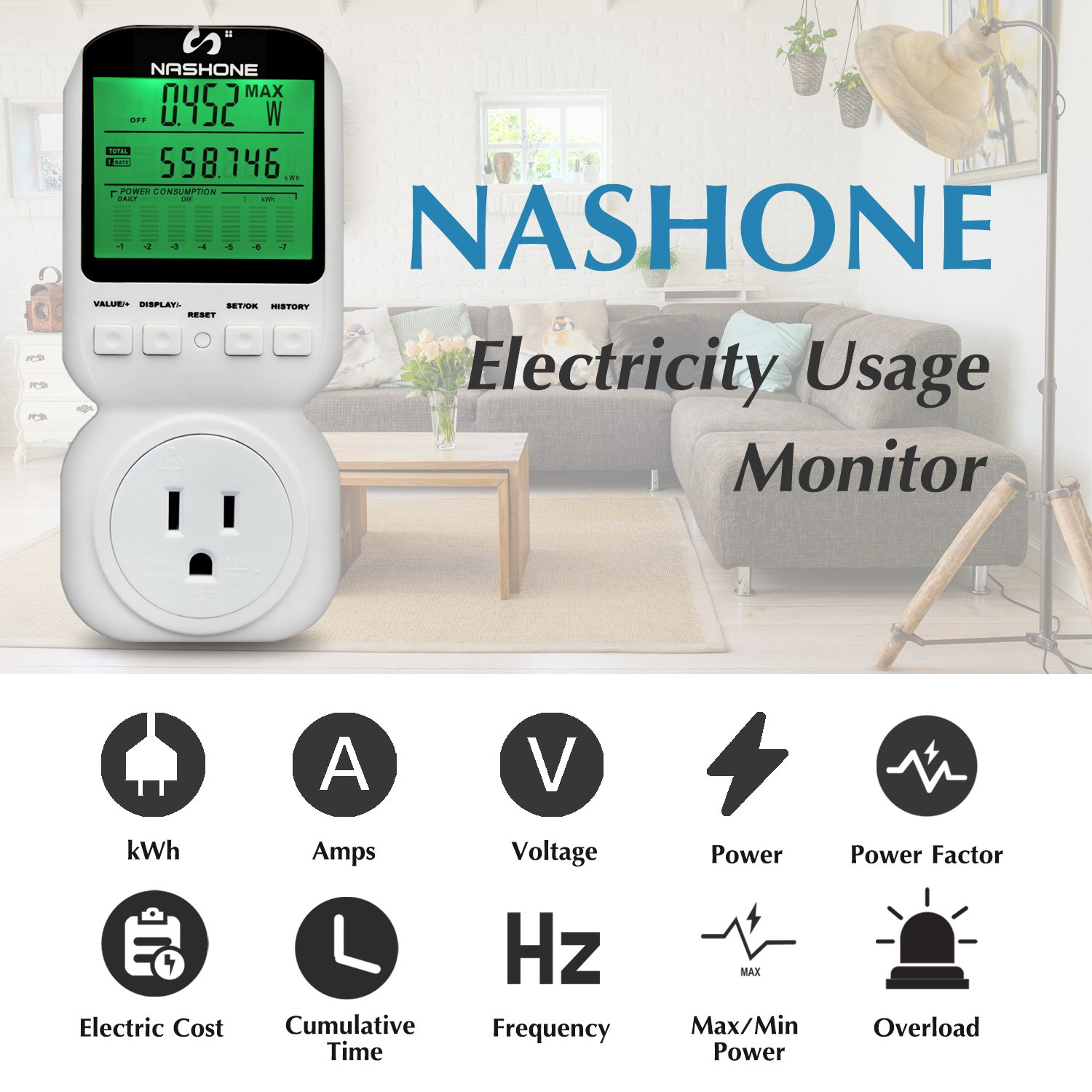 Nashone Digital Electric Power Meter, Smart Home Energy Consumption Monitor,Wall Plugged with Timer LCD Display Overload Alarm by Nashone (Image #3)