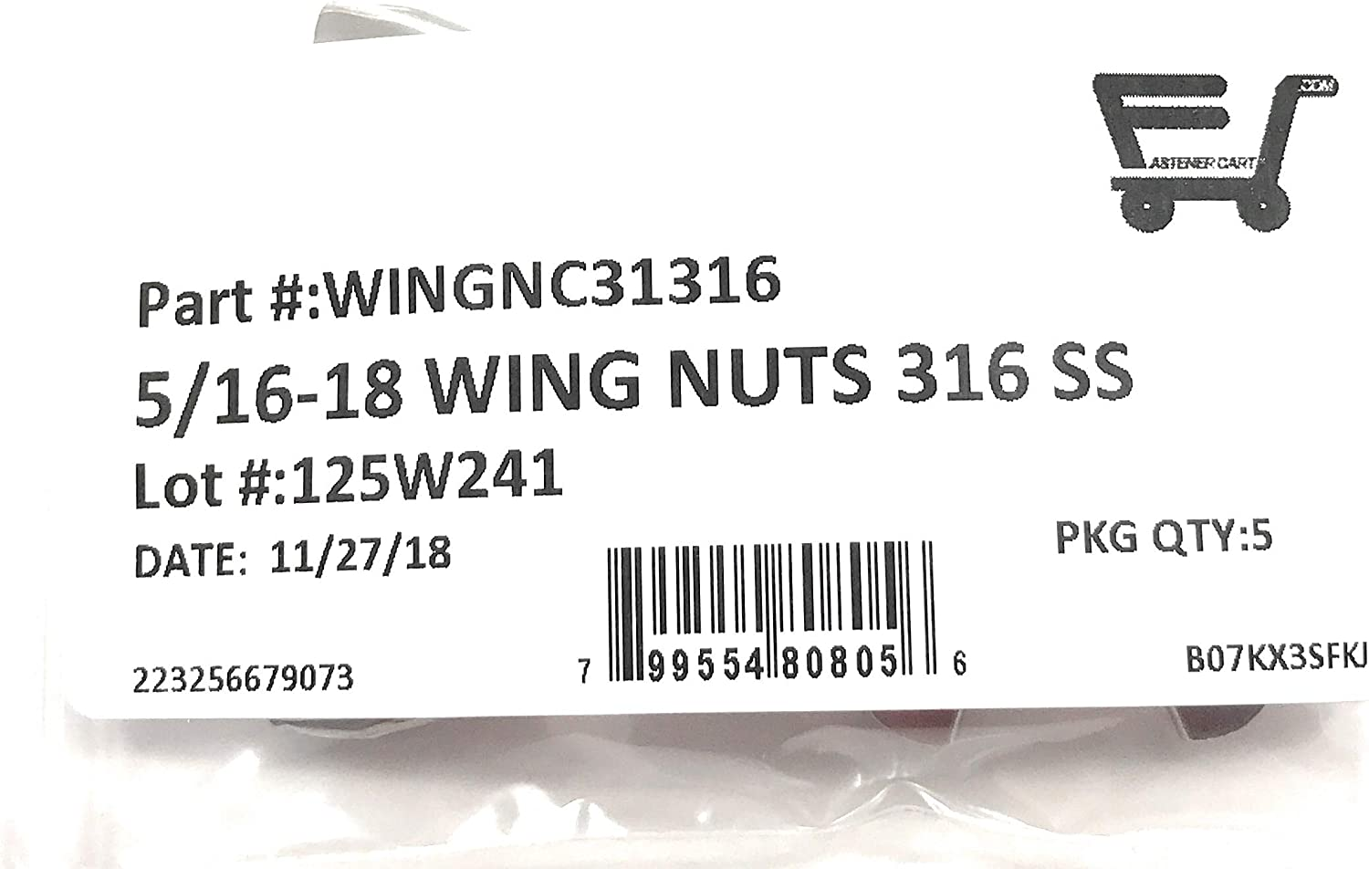 5 Pieces 5//16-18 Stainless Steel Wing Nuts 5//16-18 Butterfly Nuts 316 Marine Grade Stainless Steel