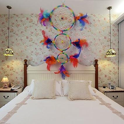 xinhuaya decorativo Atrapasueños hecho a mano Red Circular para coche niños sala de cama colgante de