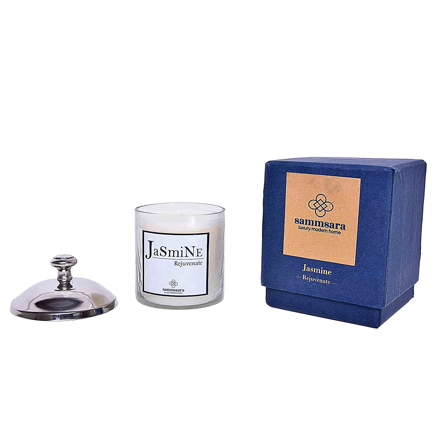 Scented Candles Aromatherapy All Natural Wax Strong Fragrance of Jasmine with Glass Gift Boxed covered with Aluminium Cap by SAMMSARA. 3.50' x 3.50' x 5' burn time of 16 hours(once lighted)