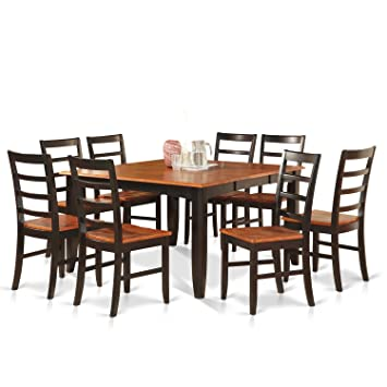 east west furniture parf9blkw 9piece dining table set