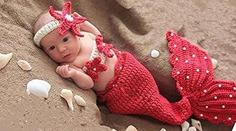 hobees Fashion recién nacido niño niña bebé trajes de punto fotografía Props, diseño de sirena