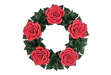 Dekokranz Rosen Rot Keramikblumen Hausdeko Gartendeko Tischdeko Osterdeko Geschenkidee Grabschmuck Grabgesteck Friedhofsdekoration