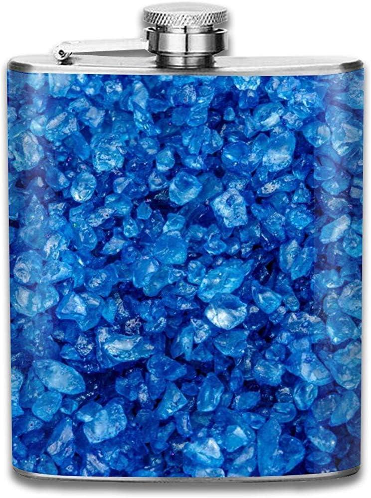 Pila de piedras preciosas azules Guijarro Retro portátil 304 Acero inoxidable a prueba de fugas Alcohol Whisky Licor Vino 7Oz Olla Frasco de cadera Viaje Camping Flagon