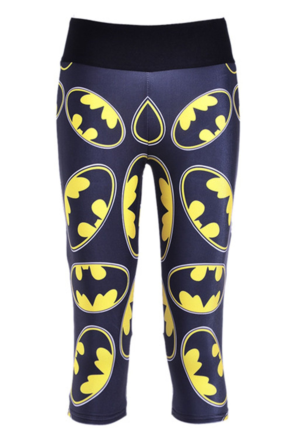 Lady Queen Women's Batman Logo Knee Length Tight Sports Capri Pants