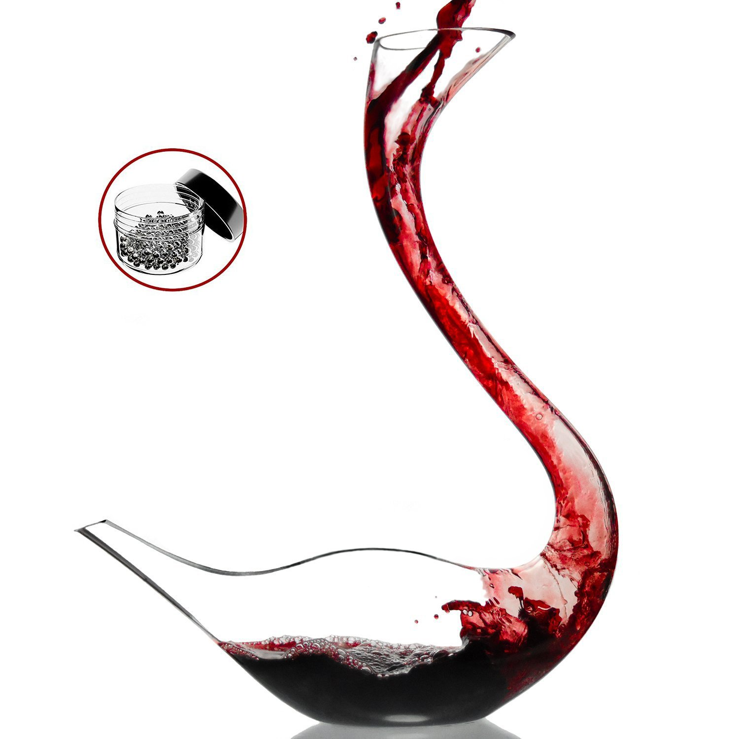 Amazing Home Cygnus Wine Decanter 100% Hand Blown Lead-free Crystal Glass Swan Decanter, Prepackaged Red Wine Carafe, Wine Gift, Wine Accessories,Gift Box Wrapped and Free Cleaning Beads Set by Amazing Home