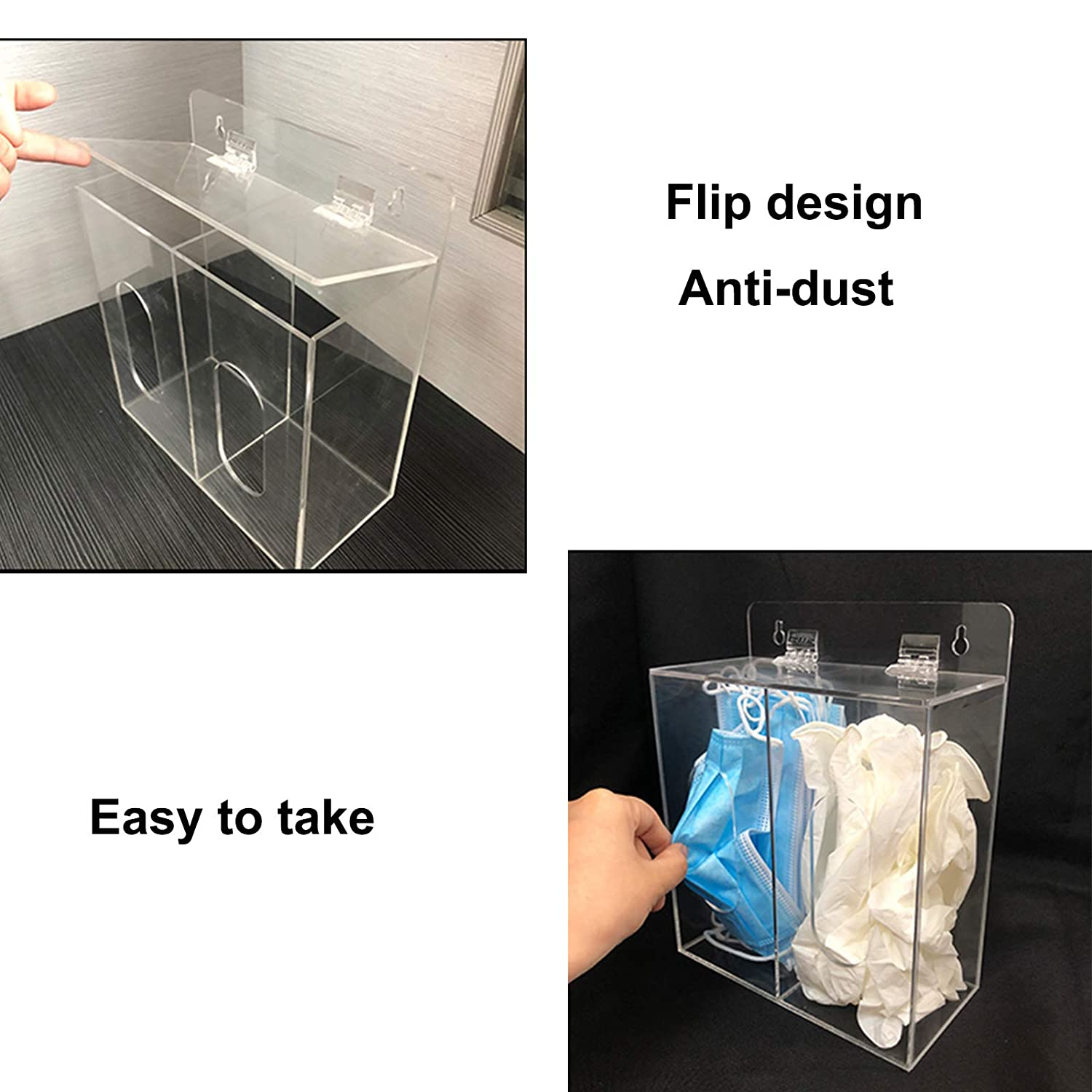 Emesis Bag Dispenser Aphbrada Acrylic Disposable Face Mask and Glove Dispenser Box Holder with Lid Can Hang on The Wall and Stand on The Table Hairnet /& Shoe Cover Dispenser Clear