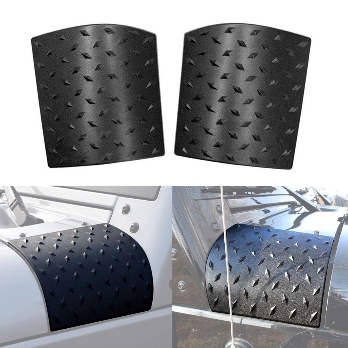 style1 IBACP 1 Pair Cowl Body Armor Armor Cowling Cover for 2007-2017 Jeep Wrangler JK Unlimited 2//4 door