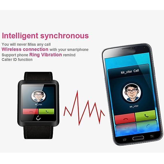 U10 Bluetooth elegante reloj cuero correa reloj de pulsera UWatch Sync llamada SMS APP notificación deportes pulsera con brújula electrónica podómetro ...