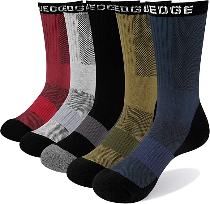 3 Pairs//Pack YUEDGE Mens And Boys Moisture Wicking Cotton Crew Socks Outdoor Multi Performance Athletic Hiking Socks