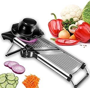 Adjustable Stainless Steel Mandoline Slicer - Professional Handheld Kitchen Julienne Cutter for Slicing Food Vegetables Fruit Chip French Fry (1)