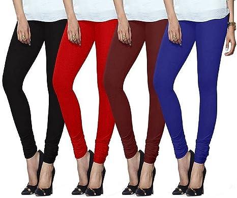 1654dafc33b2fd Lux Lyra Indian Churidar Leggings, Pack of 4 (Black : Red :: Maroon ...