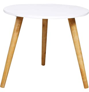 Round Small White Side Accent Table