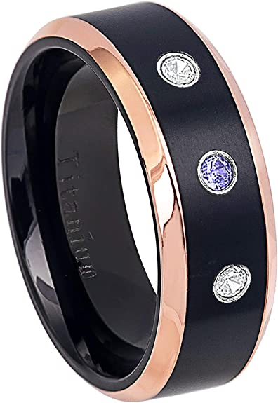 Jewelry Avalanche 0.21ctw Tanzanite /& Diamond 3-Stone Tungsten Ring 6MM Comfort Fit Brushed Black Ion Beveled Edge Tungsten Carbide Wedding Band