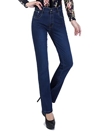 Straight leg or bootcut trousers and jeans